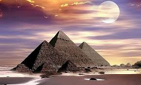 Pyramids of Egypt under the sun.